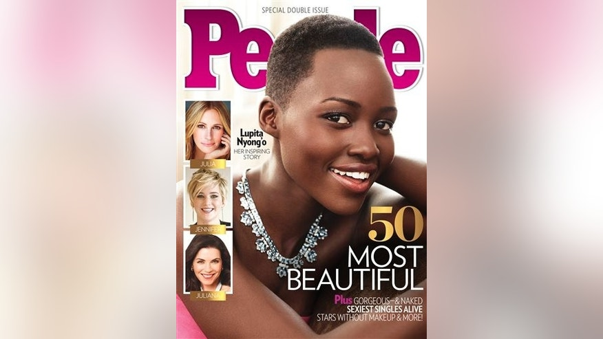 "This image provided by People magazine shows the cover of its special ""World's Most Beautiful"" issue, featuring Lupita Nyong'o.  The 31-year-old actress, who won a best supporting actress Oscar for her role in ""12 Years a Slave,"" tops the magazine's list, announced Wednesday, April 23, 2014. (AP Photo/People)"