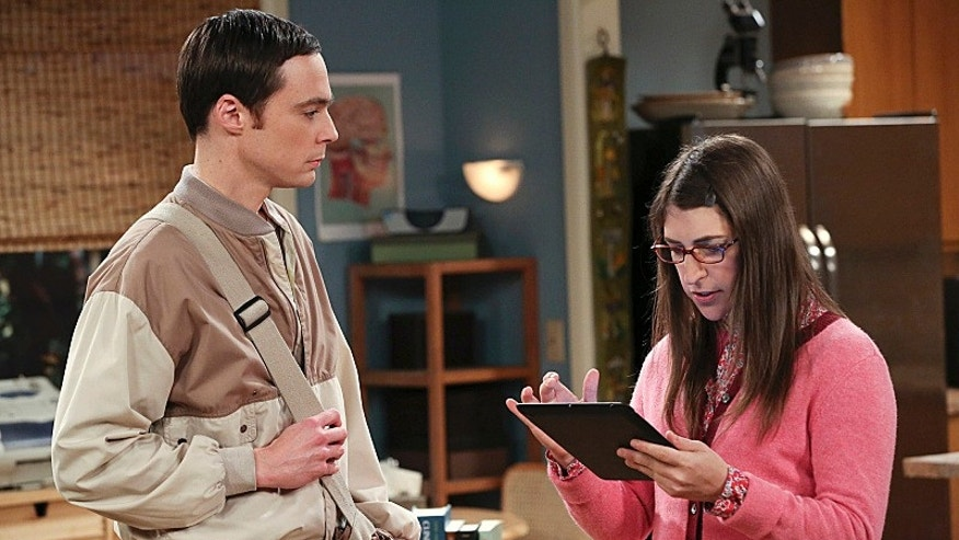 Jim Parsons and Mayim Bialik in 'The Big Bang Theory.""