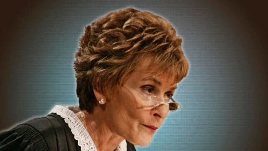 "Judge Judy Sheindlin presides over a case on the set of her syndicated show ""Judge Judy."""