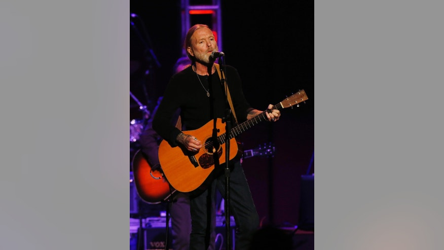 "October 3, 2012. Musician Gregg Allman performs during the ""Love for Levon"" charity event at the Izod Center in East Rutherford, New Jersey."