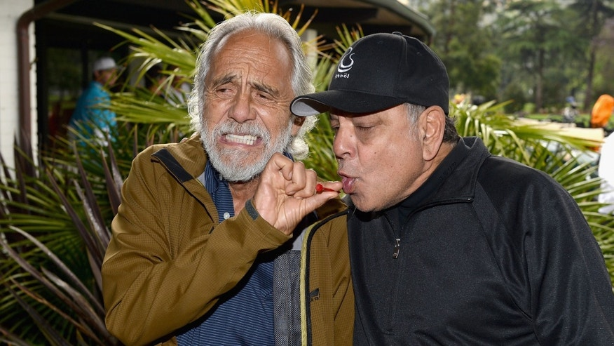 BURBANK, CA - MAY 06:  Actors/comedians Tommy Chong and Cheech Marin attend The 6th Annual George Lopez Celebrity Golf Classic To Benefit The Lopez Foundation at Lakeside Golf Club on May 6, 2013 in Burbank, California.  (Photo by Michael Buckner/Getty Images for The Lopez Foundation)