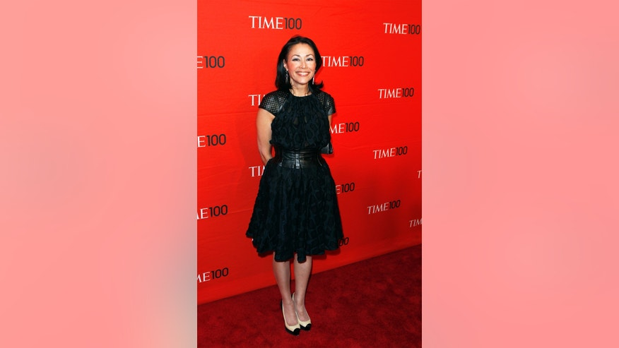 April 24, 2012. Television personality Ann Curry arrives at the Time 100 Gala in New York.