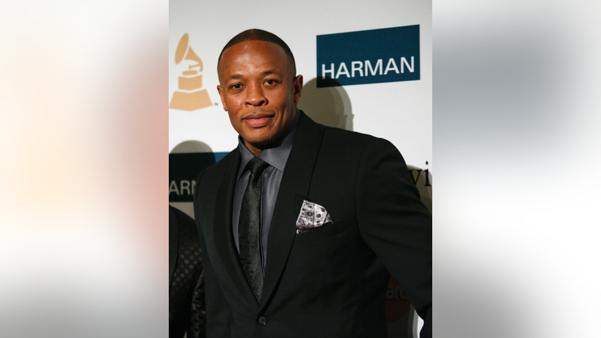February 11, 2012. Rapper and producer Dr. Dre arrives at the Clive Davis and Recording Academy Pre-Grammy Gala and Salute to Industry Icons in Beverly Hills, California.