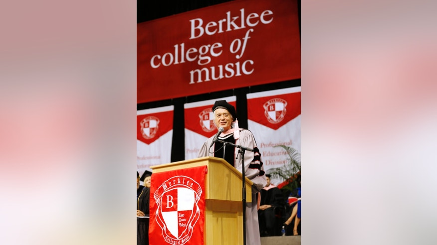 May 10, 2014. Former Led Zeppelin guitarist Jimmy Page speaks after receiving an honorary degree of Doctor of Music during the commencement of the Berklee College of Music in Boston.