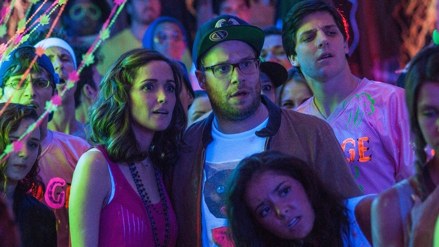 "Rose Byrne, left, and Seth Rogen in a scene from the film, ""Neighbors."""