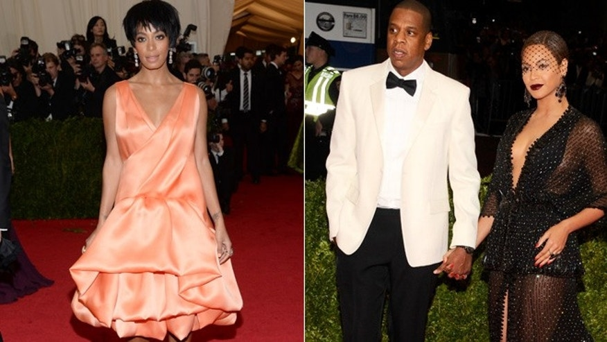 Solange Knowles, left, and Jay-Z, who is married to Beyonce, right, attend the Met Gala.