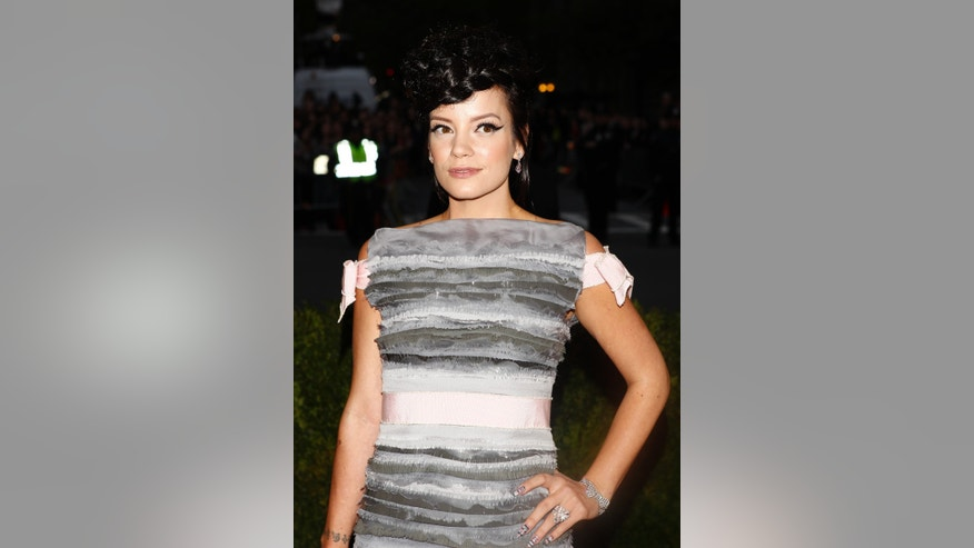 May 5, 2014. Singer Lily Allen arrives at the Metropolitan Museum of Art Costume Institute Gala Benefit.