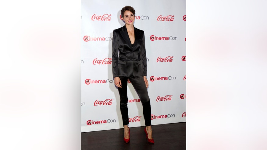 March 27, 2014. Actress Shailene Woodley, winner of the Female Star of Tomorrow award, arrives for the Big Screen Achievement Awards during CinemaCon, the official convention of the National Association of Theatre Owners, at Caesars Palace in Las Vegas, Nevada.