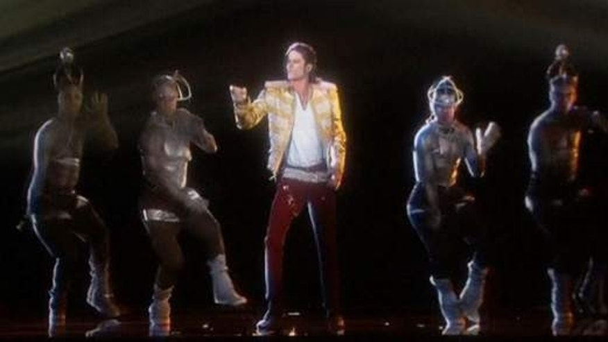 May 18, 2014: A hologram of Michael Jackson performs 'Slave to the Rhythm,' from the artist's posthumously released album 'Xscape' (Dick Clark Productions/ABC)