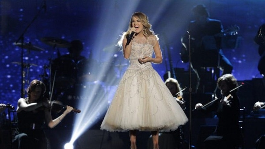 "Carrie Underwood performs in ""An All-Star Salute to the Troops."""