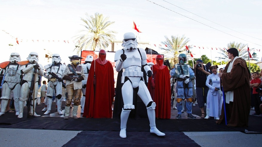 May 3, 2014. People dressed up as characters from the Star Wars movies participate in a tourism event in Tozeur, Tunisia.