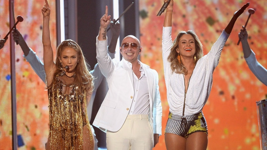 Jennifer Lopez, Pitbull, and Claudia Leitte during the Billboard Music Awards on May 18, 2014 in Las Vegas.