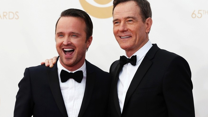 "Actors Aaron Paul (L) and Bryan Cranston from the AMC's series ""Breaking Bad."""