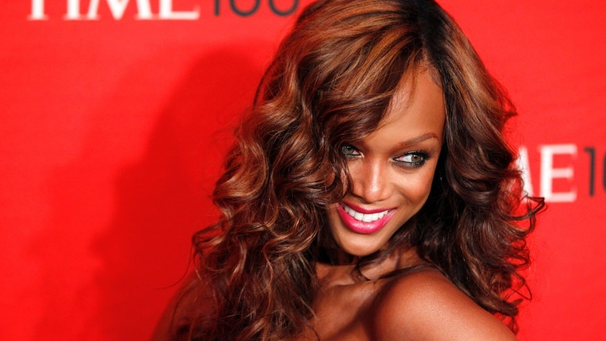April 24, 2012. Tyra Banks arrives at the Time 100 Gala in New York.