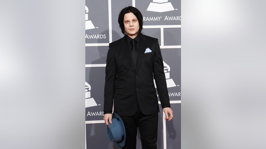 February 10, 2013. Musician and record producer Jack White arrives at the 55th annual Grammy Awards in Los Angeles, California.