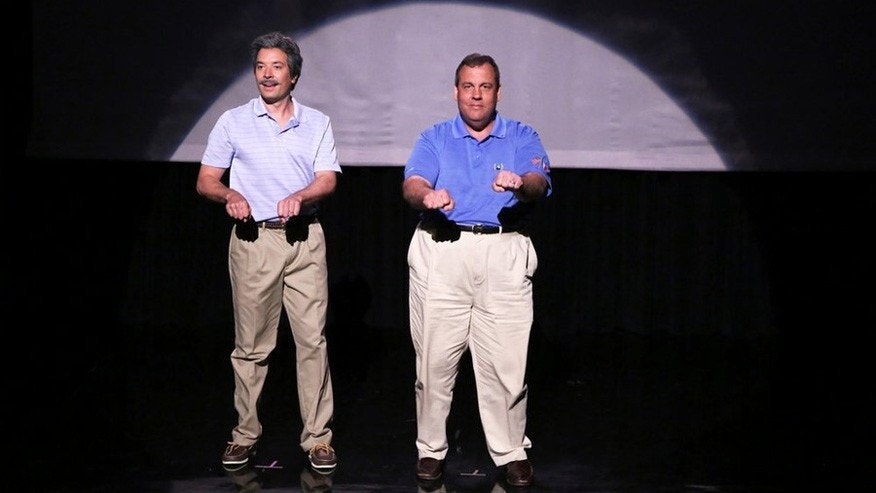 "THE TONIGHT SHOW STARRING JIMMY FALLON -- Episode 0074 -- Pictured: (l-r) Host Jimmy Fallon and Governor Chris Christie during the ""Evolution of Dad Dancing"" skit on June 12, 2014 -- (Photo by: Douglas Gorenstein/NBC)"