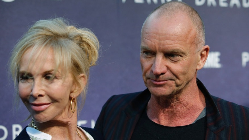 "Sting, right, and Trudie Styler arrive for the world premiere of television series ""Penny Dreadful"" in New York May 6, 2014."