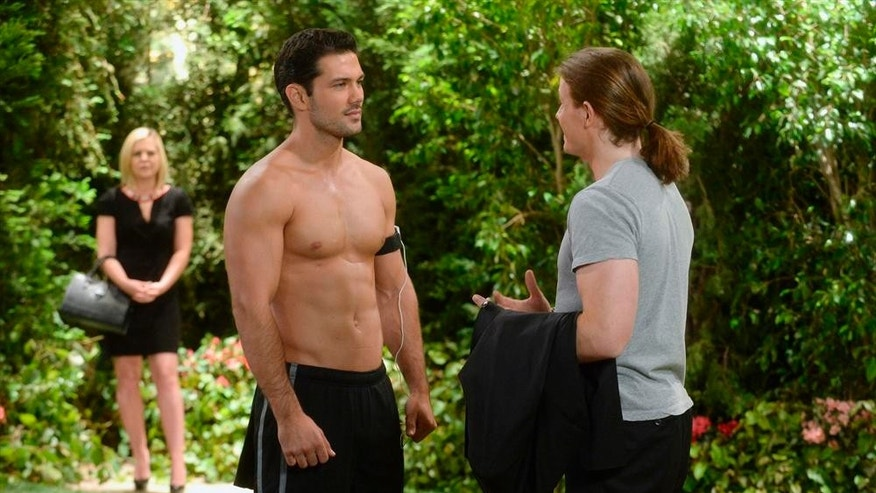 "This photo released by ABC shows Ryan Paevey as Nathan, center, Zachary Garred as Levi, right, and Kirsten Storms as Maxie, in a scene from ABC Daytime's ""General Hospital,"" which airs Monday-Friday (2:00 p.m. - 3:00 p.m., ET) on the ABC Television Network.  The hosts of the Daytime Emmy Awards ceremony's red carpet show drew sharp criticism for remarks they made to celebrities attending the Emmys.  Peavey was the subject of one of the red-carpet jokes that observers called inappropriate. (AP Photo/ABC, Todd Wawrychuk)"