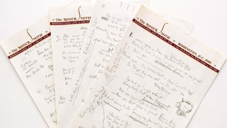 "FILE - This undated file photo provided by Sotheby's shows a working draft of Bob Dylan's ""Like a Rolling Stone,"" one of the most popular songs of all time. The draft, in Dylan's own hand, is coming to auction in New York on Tuesday, June 24, 2014, where it could fetch an estimated $1 million to $2 million. Sotheby's says it is ""the only known surviving draft of the final lyrics for this transformative rock anthem."" (AP Photo/Sotheby's, File)"
