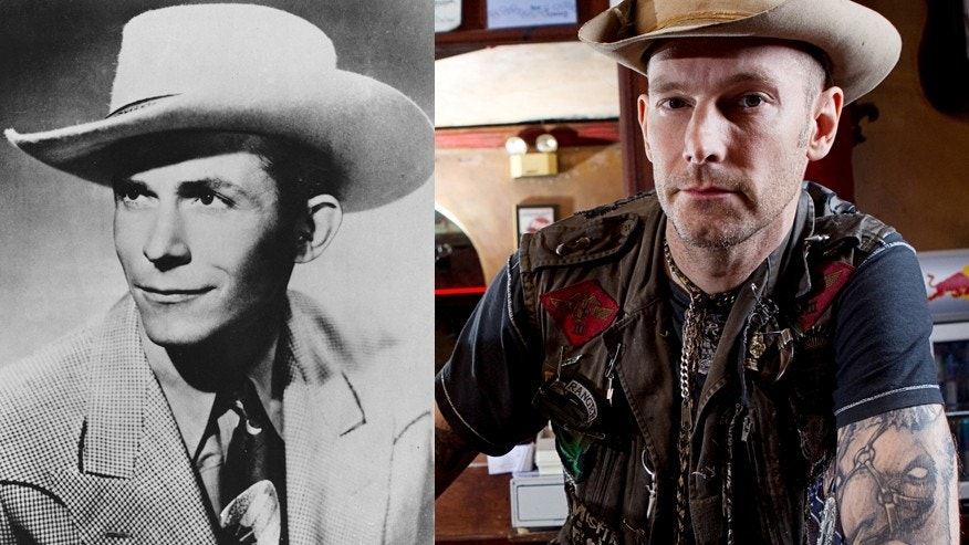 Country legend Hank Williams Sr. (L) and his grandson Hank Williams III.