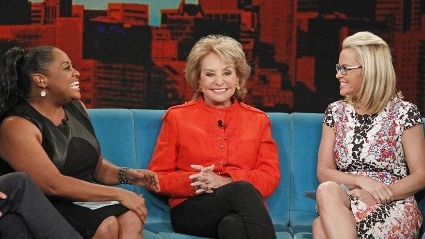 "This June 25, 2014 photo released by ABC shows, from left, Sherri Shepherd, Barbara Walters and Jenny McCarthy on the daytime talk show ""The View,"" in New York."