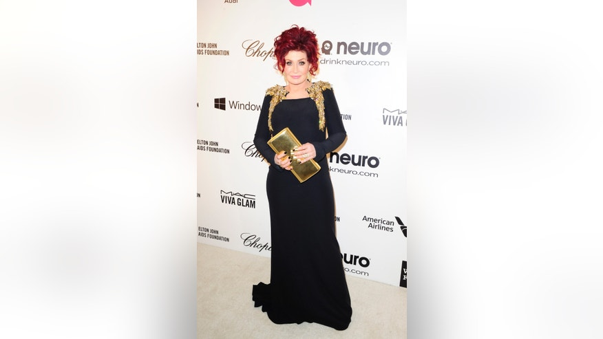 March 2, 2014. Television personality Sharon Osbourne arrives at the 2014 Elton John AIDS Foundation Oscar Party in West Hollywood, California.