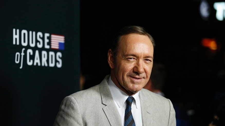 "February 13, 2014. Cast member Kevin Spacey poses at the premiere for the second season of the television series ""House of Cards"" in Los Angeles."