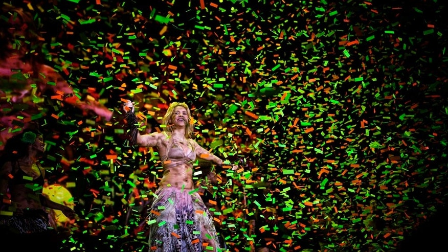 "Colombia's star singer Shakira performs during ""The Sun Comes Out World Tour"" concert in Barcelona, Spain, Sunday night, May 29, 2011. (AP Photo/Emilio Morenatti)"