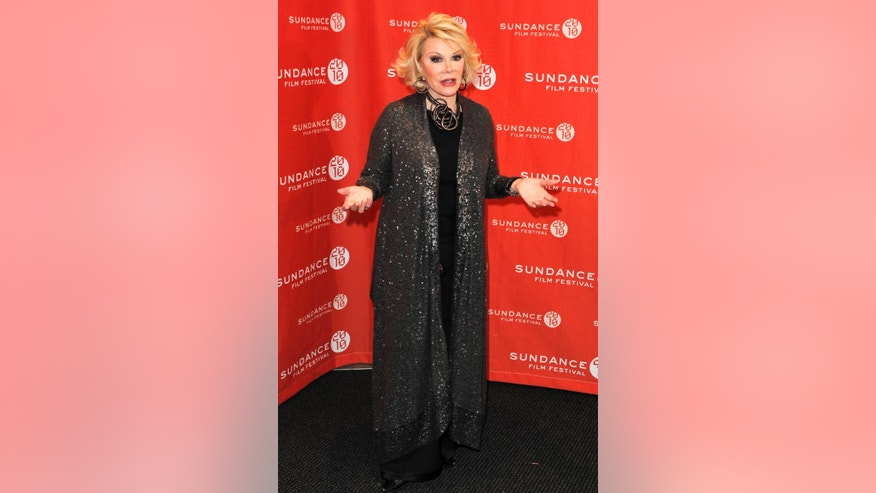 "January 25, 2010. Comedian Joan Rivers arrives for the premiere of the documentary ""Joan Rivers - A Piece Of Work"" during the 2010 Sundance Film Festival in Park City, Utah."