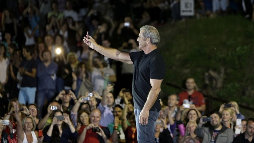 "Mel Gibson at an outdoor screening of ""Mad Max"" at the Karlovy Vary International Film Festival."
