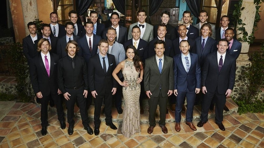 "Andi Dorfman, 26, poses with the suitors from ""The Bachelorette."""
