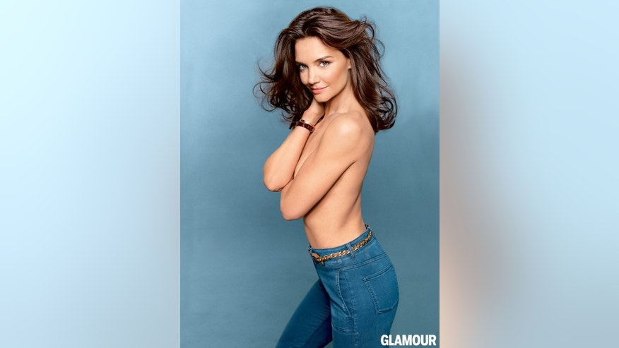 Katie Holmes in the August issue of Glamour magazine.