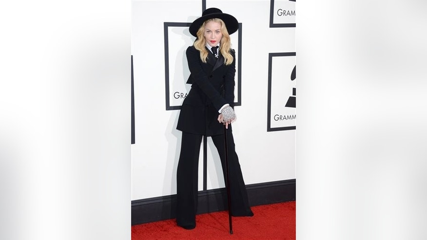 Madonna arrives at the 56th annual Grammy Awards at Staples Center on Sunday, Jan. 26, 2014, in Los Angeles. (Photo by Jordan Strauss/Invision/AP)