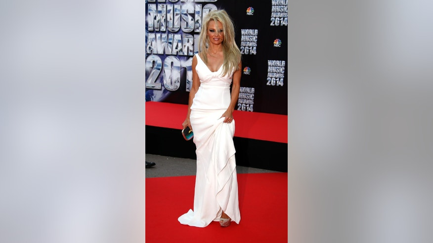 May 27, 2014. Actress Pamela Anderson arrives to attend the World Music Awards in Monte Carlo.