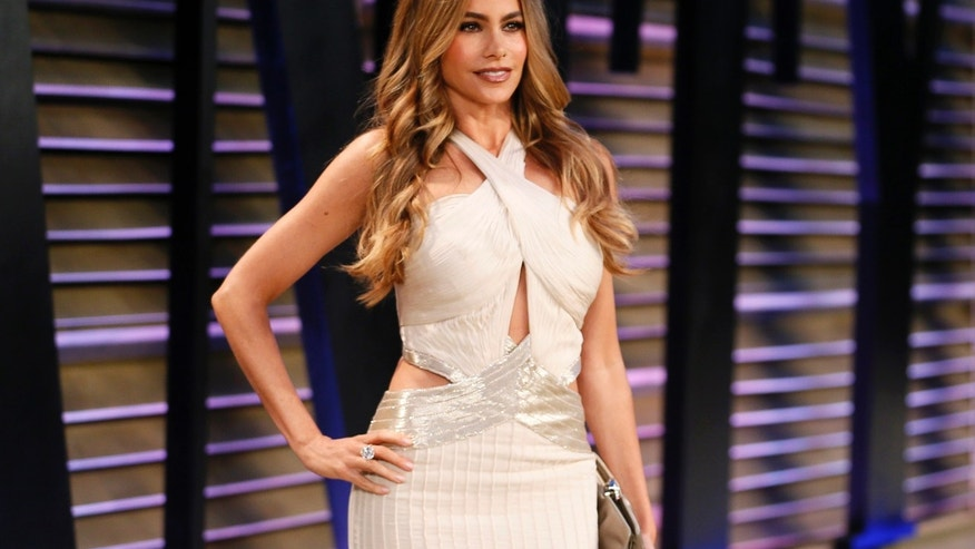 March 2, 2014. Sofia Vergara arrives at the 2014 Vanity Fair Oscars Party in West Hollywood, California.