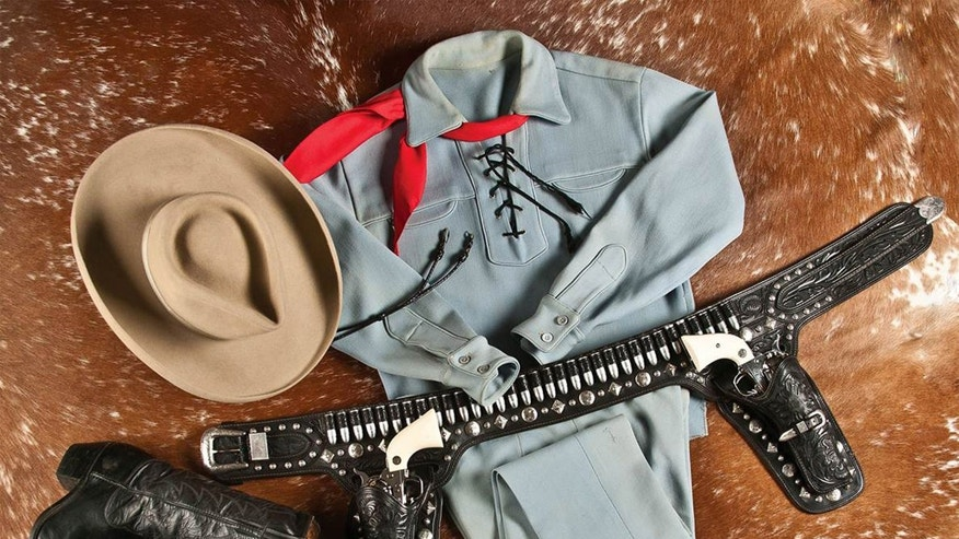 This photo provided by A &S Auction Company of Waco, Texas shows the outfit Lone Ranger actor Clayton Moore wore when he made appearances as the character after retiring from television.