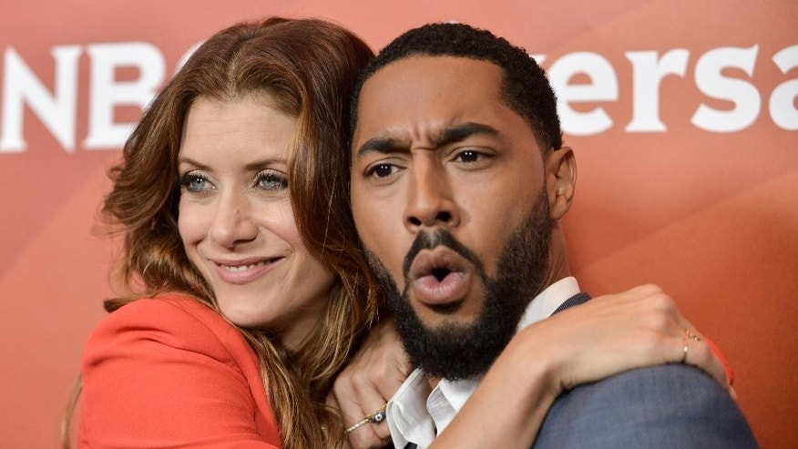 Kate Walsh, left, and Tone Bell attend the NBC 2014 Summer TCA held at the Beverly Hotel on Sunday, July 13, 2014, in Beverly Hills, Calif. (Photo by Richard Shotwell/Invision/AP)