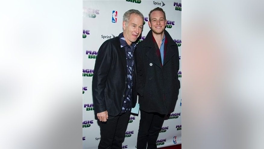 "In this April 11, 2012 file photo, John McEnroe and his son Kevin arrive for the opening night performance of the Broadway play ""Magic/Bird"" in New York. Kevin McEnroe was arrested Tuesday, during an alleged drug sale."