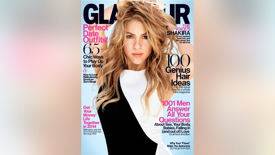 Shakira graces the cover of Glamour's February 2014 issue.