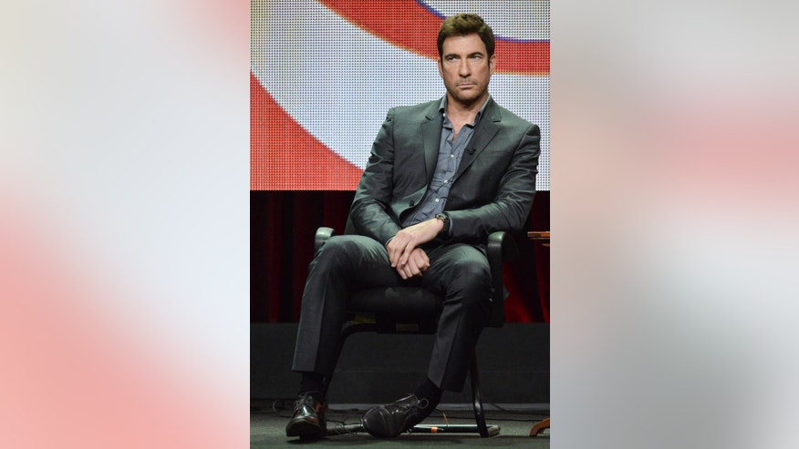 "Dylan McDermott appears on stage during the ""Stalker"" panel at the CBS 2014 Summer TCA  held at the Beverly Hilton Hotel on Thursday, July 17, 2014, in Beverly Hills, Calif. (Photo by Richard Shotwell/Invision/AP)"