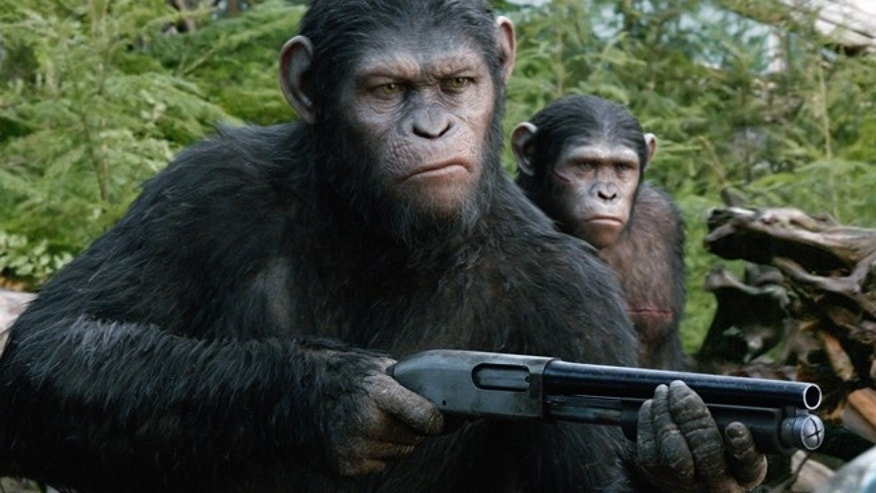 "This photo released by Twentieth Century Fox Film Corporation shows Andy Serkis as Caesar in a scene from the film, ""Dawn of the Planet of the Apes."""