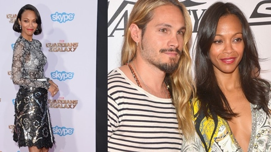"(Left) Zoe Saldaña at the premiere of Marvel's ""Guardians Of The Galaxy"" on Monday, July 21. (Right) Saldaña is pictured with husband Marco Perego. (Getty Images)"