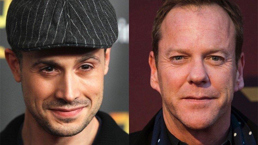 Actors Freddie Prinze Jr. (L) and Kiefer Sutherland (R).