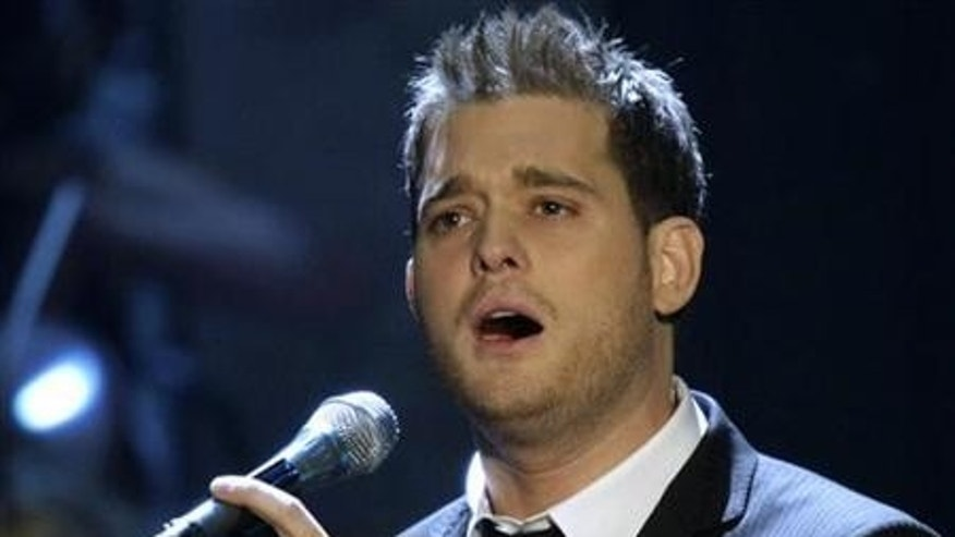"Canadian singer and songwriter Michael Buble performs his song ""Lost"" during the TV show ""Wetten, dass..?"" (Bet it..?) in the eastern German city of Leipzig November 10, 2007. REUTERS/Eckehard Schulz/Pool"