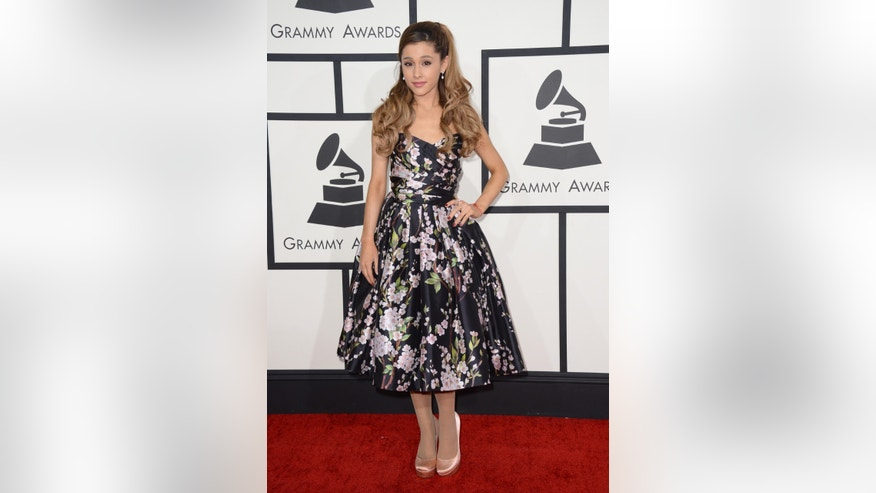 Ariana Grande arrives at the 56th annual Grammy Awards at Staples Center on Sunday, Jan. 26, 2014, in Los Angeles. (Photo by Jordan Strauss/Invision/AP)