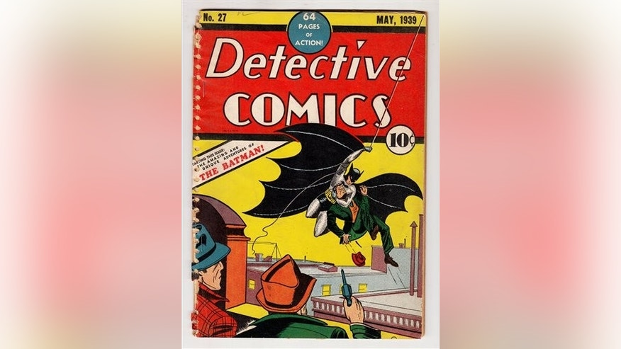 This undated image provided by ComicConnect.com shows a May 1939 copy of Detective Comics, which featured one of the earliest appearances of Batman. The comic is being auctioned online along with a nearly mint copy of the first Incredible Hulk comic book and a 1942 Archie comic book, Archie No. 1, which marked the first time the red-headed character appeared in his own magazine. (AP Photo/ComicConnect.com)