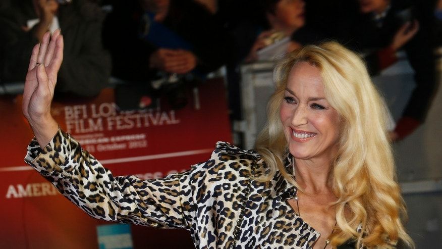 "Model Jerry Hall arrives for the world premiere of the Rolling Stones documentary ""Crossfire Hurricane"" at the Odeon Leicester Square in London October 18, 2012."
