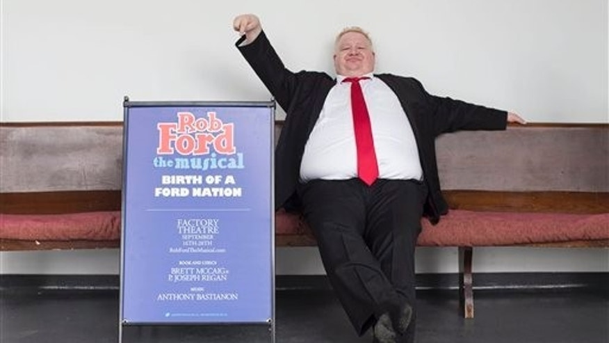 "Actor Sheldon Bergstrom poses for a photo in Toronto on Tuesday, Aug. 5, 2014, as he prepares for the role of Toronto Mayor Rob Ford in the upcoming musical ""Rob Ford the Musical: Birth of A Ford Nation."""