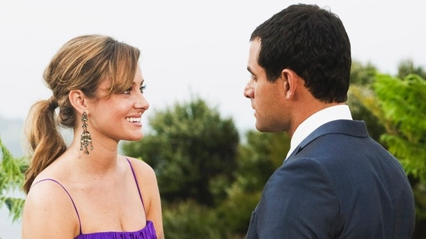 "FILE - In this file image originally released by ABC, Jason Mesnick, right, is shown with Molly Malaney on the season finale of ""The Bachelor,"" airing Monday, March 2, 2009 on ABC. The couple, now married, are expecting a child together. Mesnick proposed to contestant Melissa Rycroft on the ABC reality dating show. But in the subsequent ""After the Final Rose"" special, taped six weeks after Mesnick's proposal, he told Rycroft he was dumping her because he still had feelings for the runner-up, Molly Malaney. (AP Photo/ABC, Matt Klitscher)"