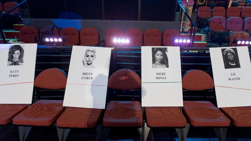 August 21, 29014. Place holders for musicians, from left, Katy Perry, Miley Cyrus, Nicki Minaj and Lil Wayne are displayed during the 2014 MTV Video Music Awards Press Preview Day at the Forum in Inglewood, Ca.